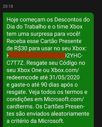 Xbox cartões